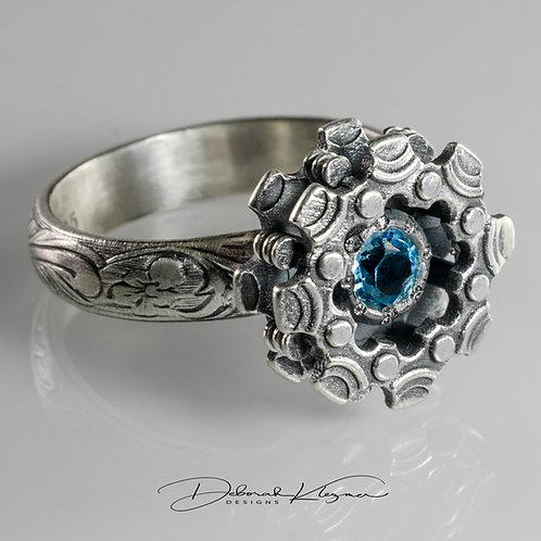 London Blue Topaz Gemstone in Deborah Klezmer Designs Sterling Silver Gear Flower Ring