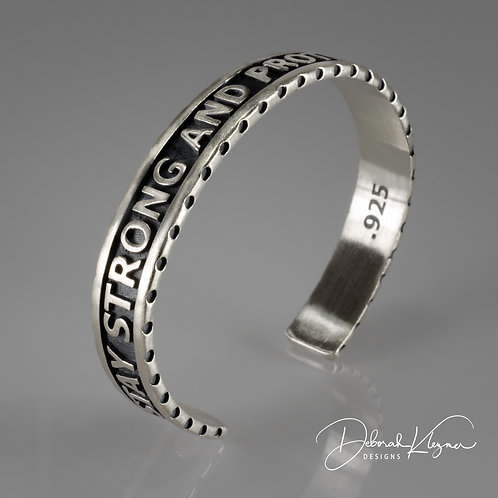 Stay Strong Cuff in Sterling Silver