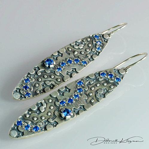 Long Sterling Silver Earrings Gem-Studded with Swarovski Kashmir Blue Topaz
