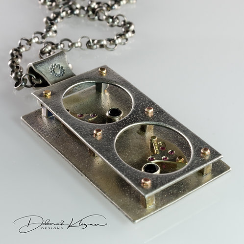 Sculptural Sterling Silver Pendant with Antique Watch Parts and Black Spinel on Sterling Silver Rolo Chain Angle View