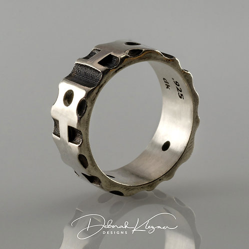 Sterling Silver Men's OEM Ring Through Finger View