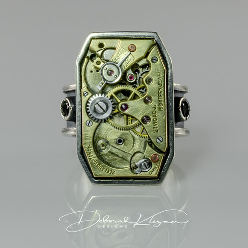 Steampunk Inspired Men's Ring in Sterling Silver with Authentic Watch Part & Black Spinel Front View