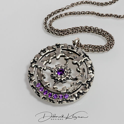 Sterling Silver Round Pendant with Amethyst Gemstones and Sterling Silver Chain
