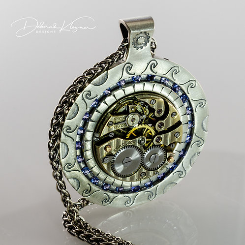 Steampunk Style Necklace in Sterling Silver with Authentic Watch Movement and Tanzanite