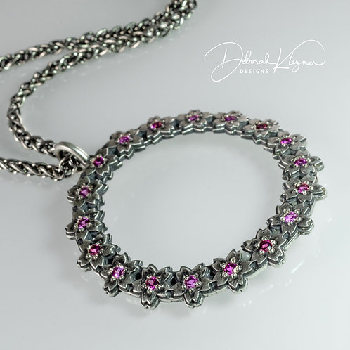Cherry Blossom Necklace with Rhodolite Garnets