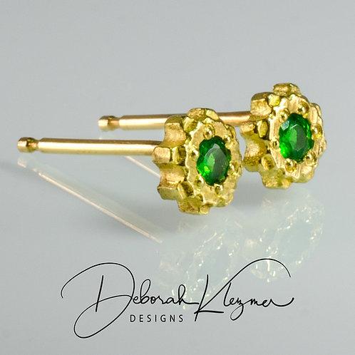Gold Tsavorite Stud Earrings