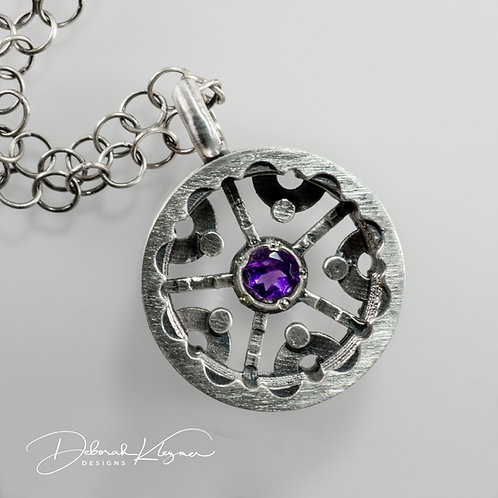 Sterling Silver Necklace Shaped Like a Wheel with Amethyst Front View