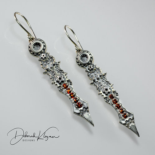 Clockhand Earrings with Garnets