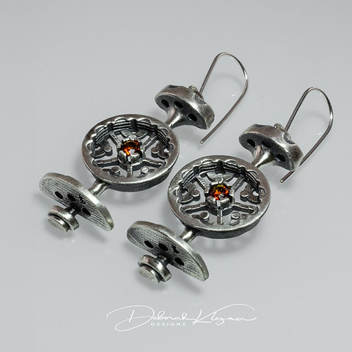 Steampunk Style Sterling Silver Earrings with Gear Shapes and Fire Citrine Gemstones