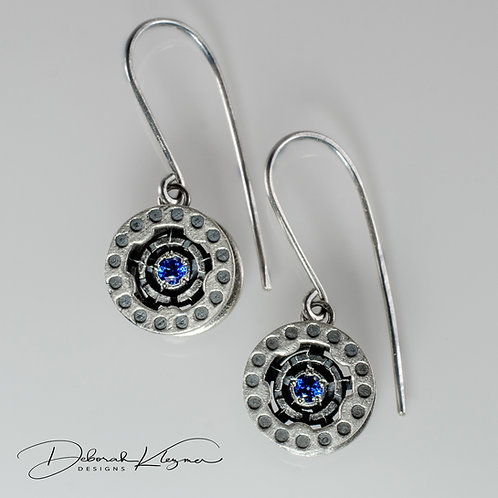 Sterling Silver Dangle Earrings Shaped Like Bobbins with Gemstone Front View