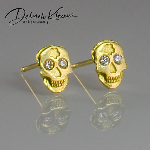 Gold Skull Studs with Diamonds