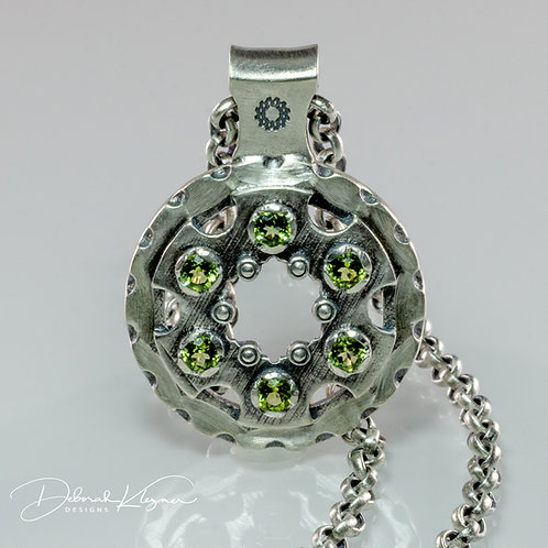 Steampunk Inspired Sterling Silver Necklace with 6 Peridot Gemstones and Sterling Silver Chain Front View