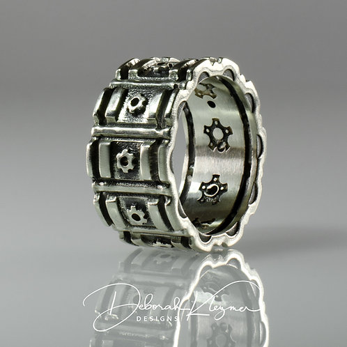 Sterling Silver Men's Citadel Ring with Gear & Pillar Design Side View