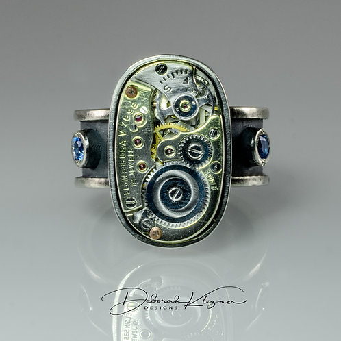 Sterling Silver Ring with Authentic Watch Movement and Swarovski Kashmir Blue Topaz Front View