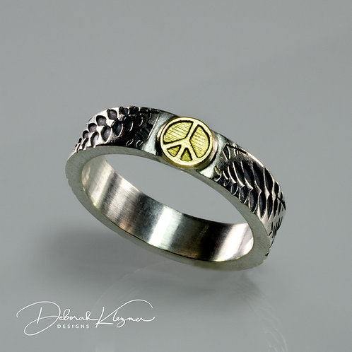 18 Karat Yellow Gold Peace Sign on Sterling Silver Band With Ferns, Through Finger View