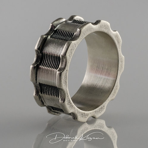 Gear Shaped Sterling Silver Men's Ring Through Finger View