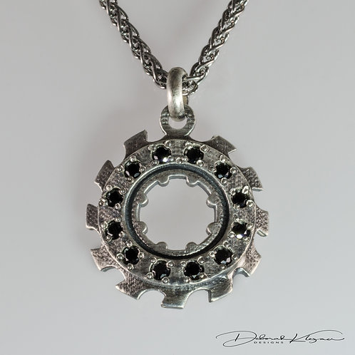 Sterling Silver Gear Shaped Pendant with Black Spinel on Sterling Silver Chain Front View