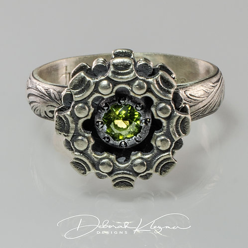 From View of Sterling Silver Ring with Gear Flower and 4mm Peridot gem