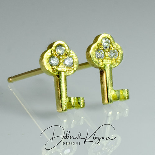 Gold Key Stud Earrings