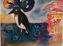 Pinguim na praia