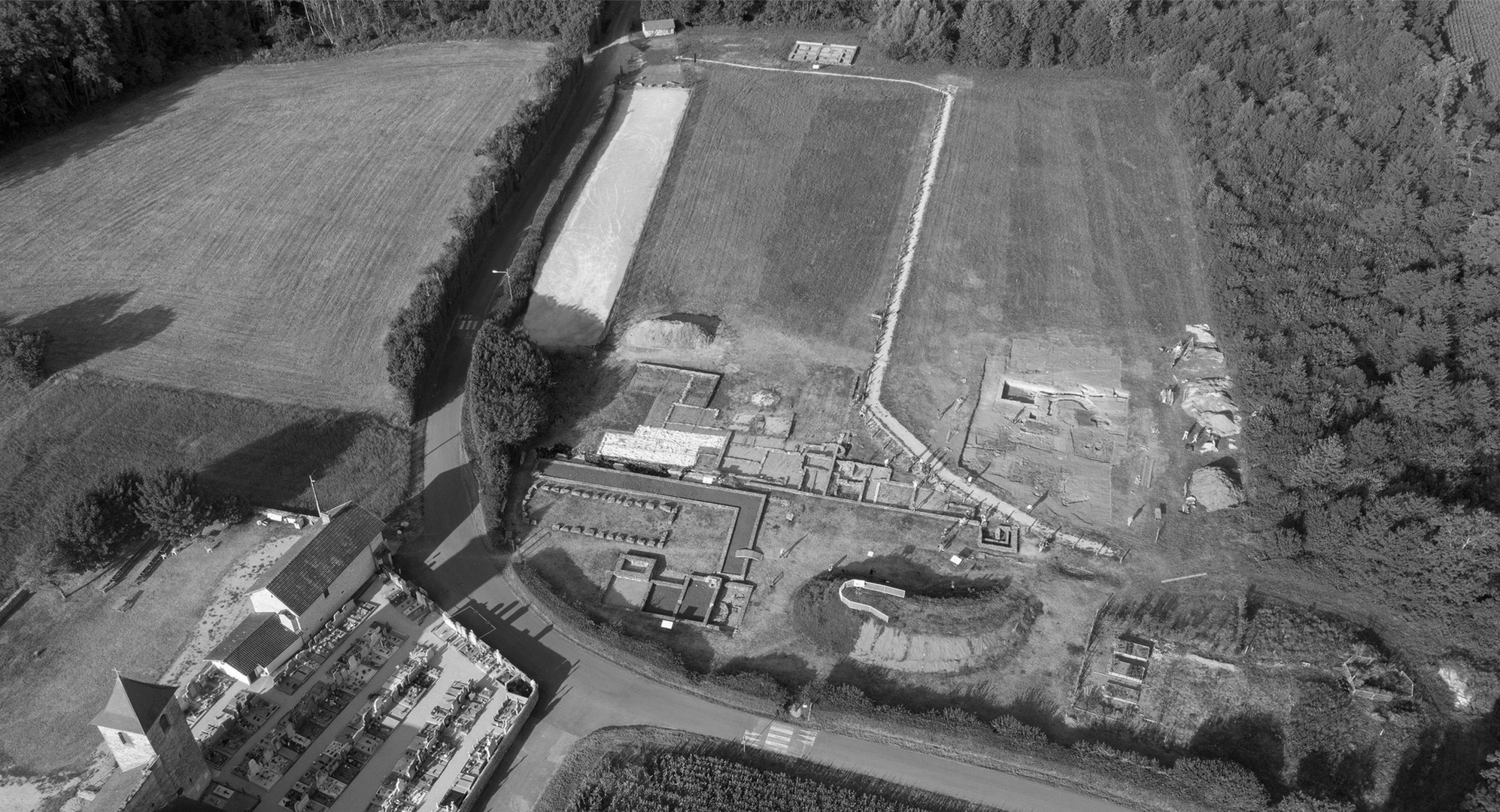 Vue aérienne du site