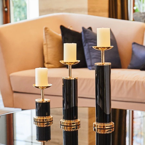 BlackGold Chic Candle Holder