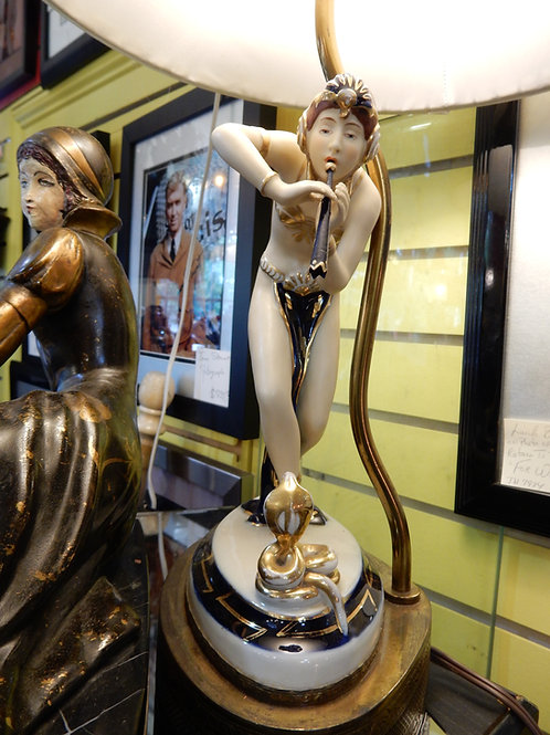 "1930'S CERAMIC ART DECO ""ROYAL DUX"" FIGURAL LAMP"
