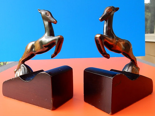 1940'S ART DECO GAZELLE BOOKENDS