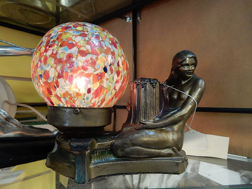 1930's ART DECO RADIO LAMP WITH CZECHOSLOVAKIAN GLOBE