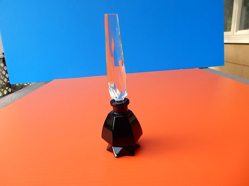 BLACK GLASS PERFUME BOTTLE WITH CRYSTAL STOPPER