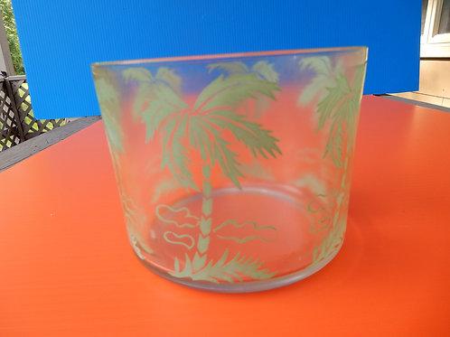 1950'S PALM TREE GLASS ICE BUCKET