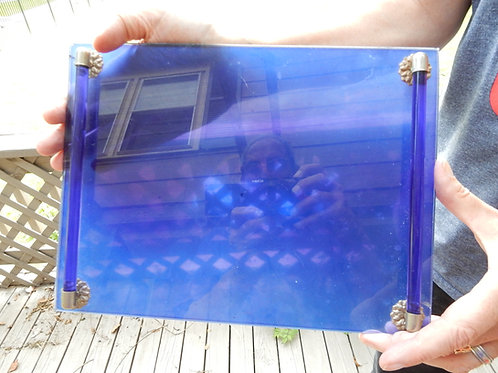 COBALT BLUE GLASS MAKE-UP TRAY