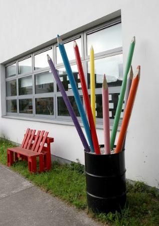 'Giant Colouring Pencils' Sculpture - Julie The Genie