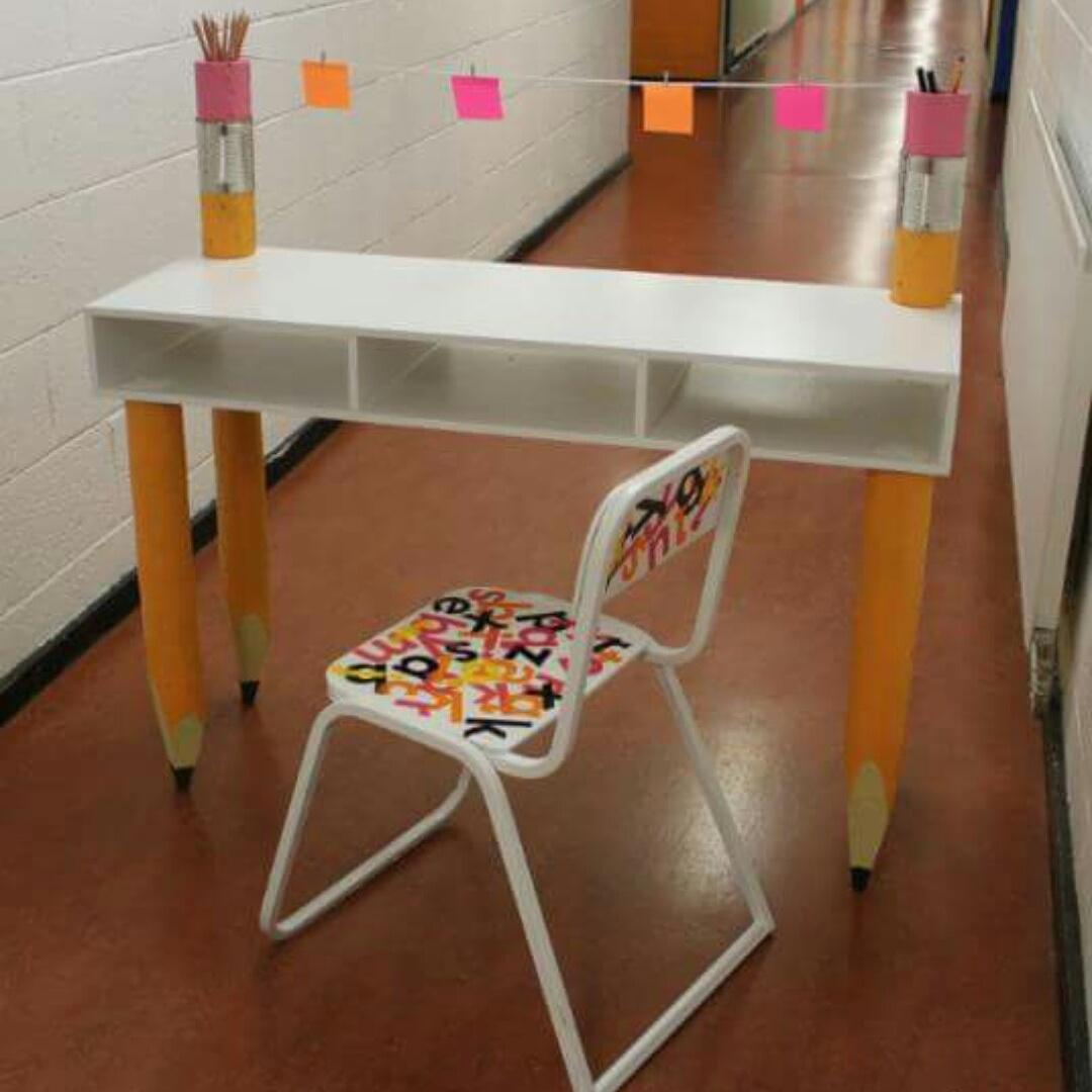 Custom made desk, with pencil legs.