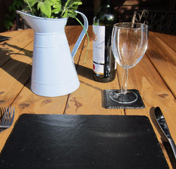Natural slate placemats and coasters