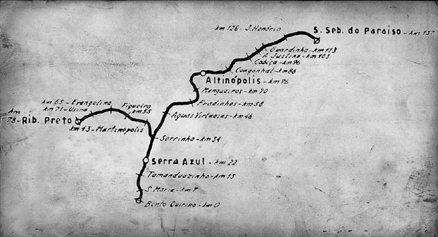 Mapa da Estrada de Ferro São Paulo e Minas