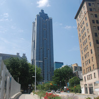 The SunTrust Plaza building is the focal point as you head south on Peachtree Street on the bridge over the I-75/85 Connector.