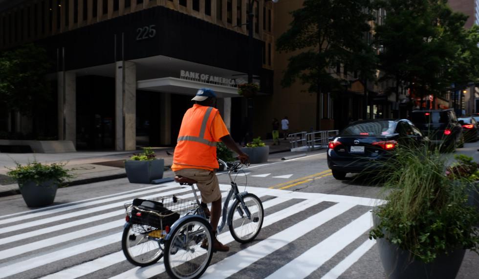 Cyclist riding on Peachtree Street
