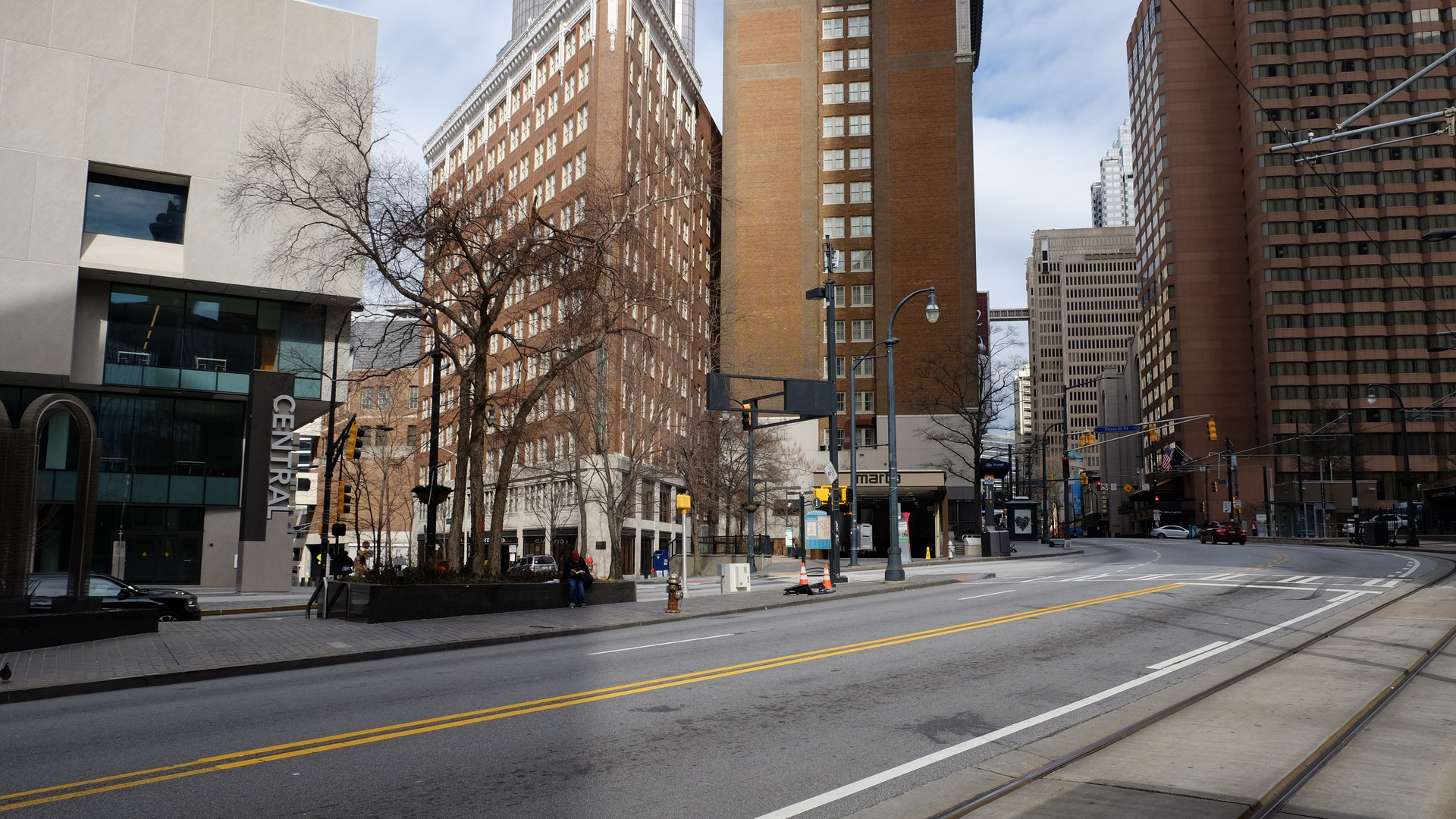 Peachtree Street near Margaret Mitchell Square facing the Central Library and Peachtree Center MARTA Station