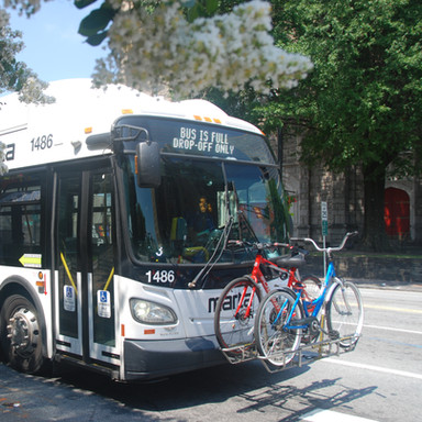 Several MARTA routes on Peachtree Street offer curbside transit service and have bike racks for riders who bike for part of their trips.
