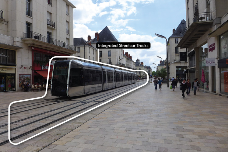 Integrated streetcar tracks