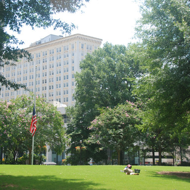 The lawn at Woodruff Park is the largest greenspace in the study area.