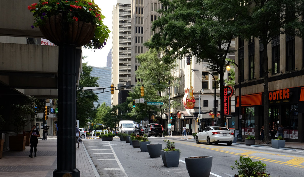 Expanded pedestrian space near the Westin