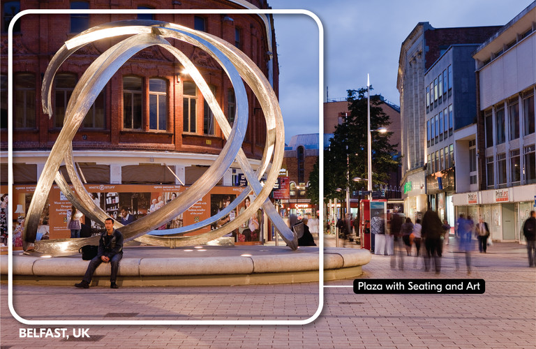 Plaza with art and seating   Belfast, UK