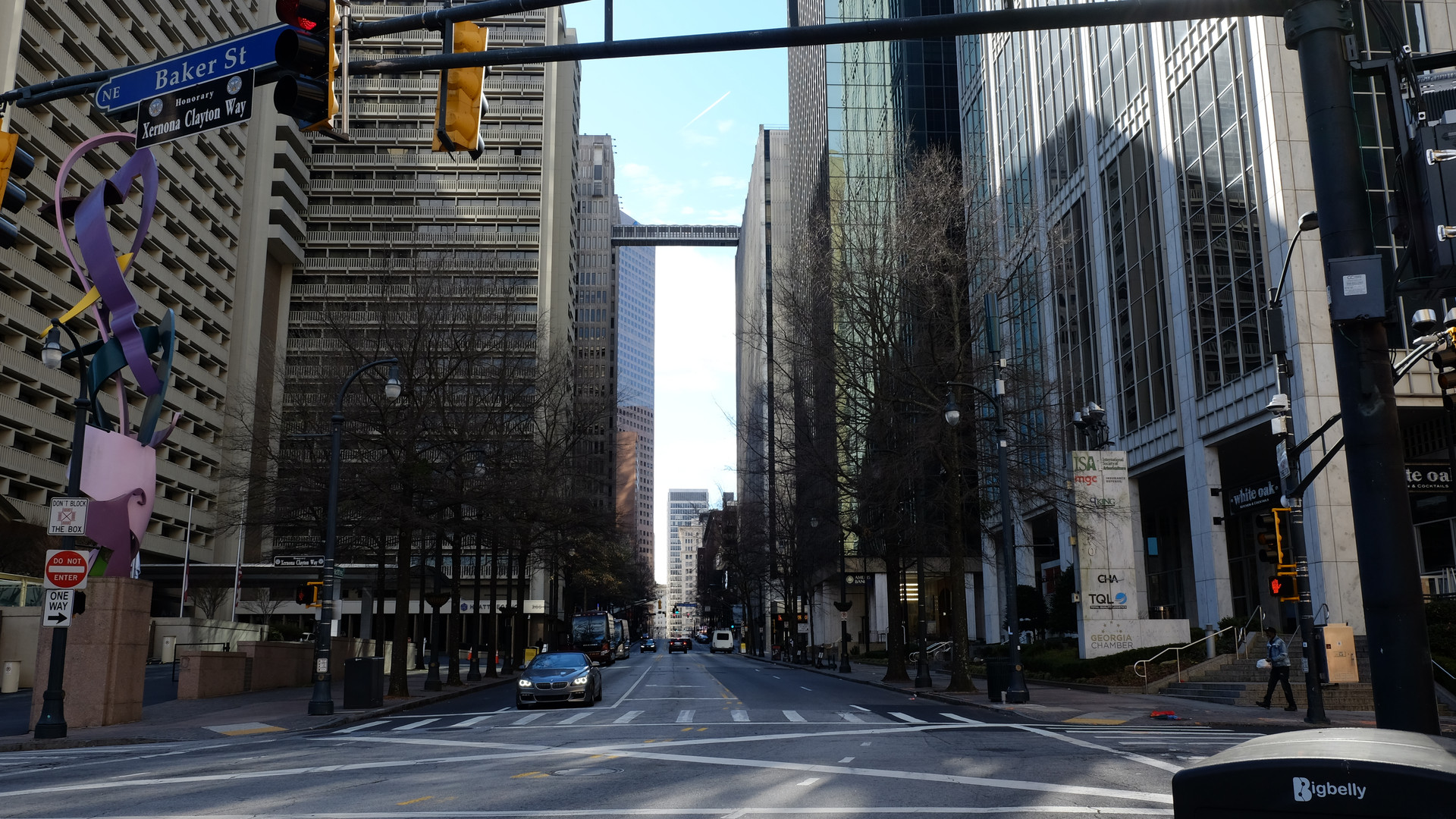 Peachtree Street at Baker Street facing south