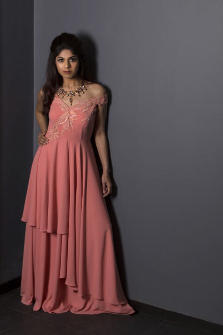 Blush Pink Asymetric Gown
