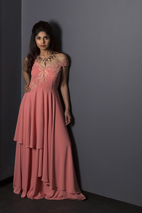 Blush Pink Asymetric Gown
