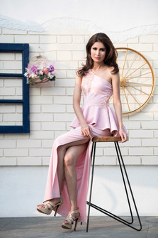 Candy Pink One Shoulder Side Slit Peplum Dress