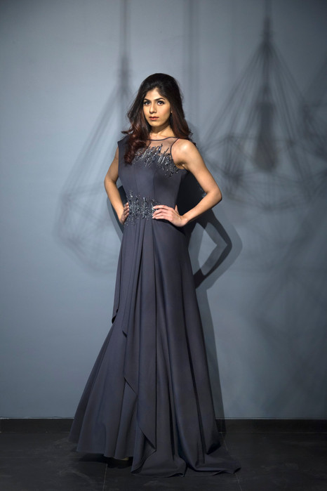 Embellished Metallic Grey Gown