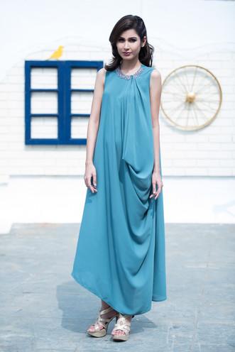 Round Neck Side Cowl Dress